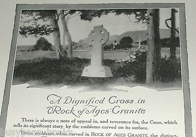 1920 Rock of Ages advertisement, Celtic Cross Memorial, headstone, tombstone