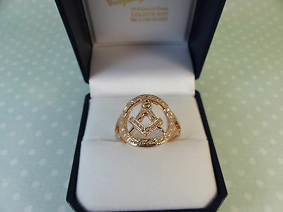 NEW 9ct 9carat Rose Gold Masonic Ring, size S 1/2