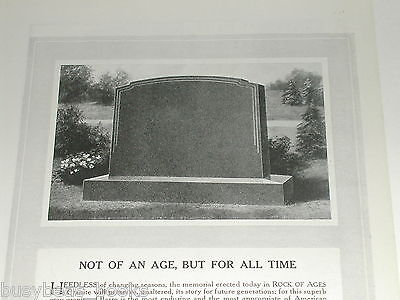 1921 Rock of Ages advertisement, Tombstone Headstone Grave marker