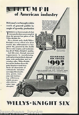 1928 Willys Overland advertisement, WILLYS-KNIGHT Coupe, engine cutaway