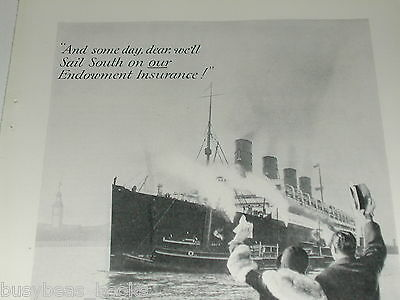 1929 Prudential Insurance advertisement, photo of RMS MAURITANIA, Cunard