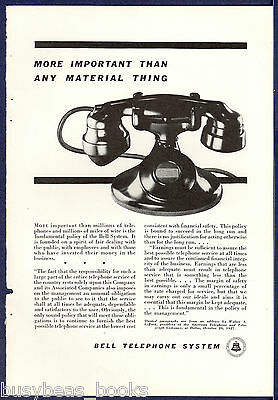 1934 AT&T Bell Telephone advertisement, photo of Western Electric 202 desk phone