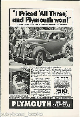 1936 PLYMOUTH advertisement, hardtop coupe photo, Gary Evans