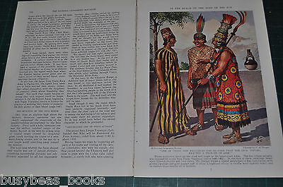 1938 magazine article, THE INCAS, South America, info history, color art
