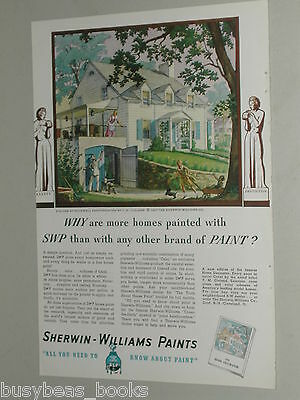 1937 SHERWIN-WILLIAMS Paint advertisement white Colonial Revival house blue trim