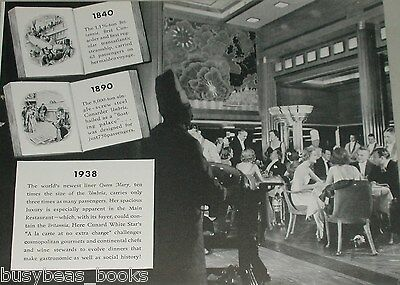 1938 CUNARD White Star advertisement, RMS QUEEN MARY Dining Room photo