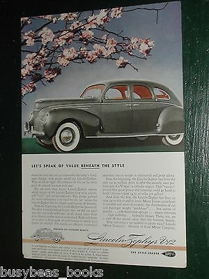 1939 Lincoln ad, Lincoln Zephyr, great color photo