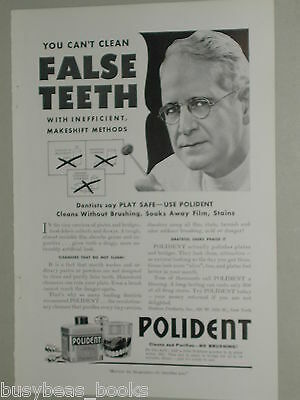 1941 Polident ad, denture cleaner, false teeth, dentist
