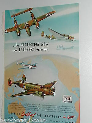 1942 Lockheed Airplane advertisement, P-38 LIGHTNING, Hudson, Constellation