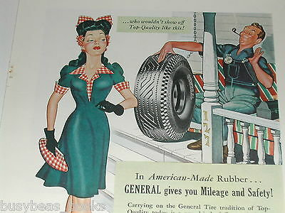 1943 General Tire ad, Wartime dress & hair style