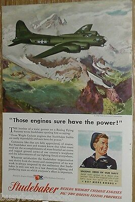 1944 Studebaker advertisement, Flying Fortress, WWII, Wright Cyclone engine