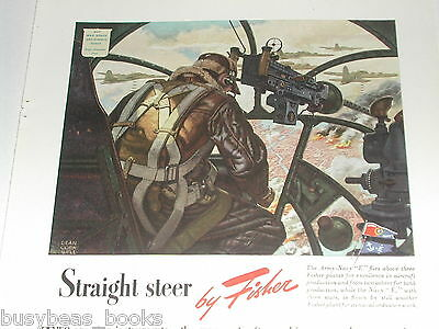 1943 Fisher Body advertisement, bombardier, FLYING FORTRESS, WWII, gyroscope