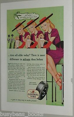 1945 General Tire advertisement, sexy Triplets at Soda Fountain