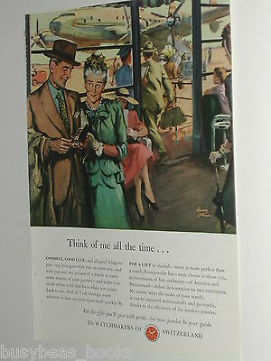 1948 Watchmakers of Switzerland ad, gift at airport