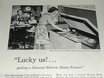 1948 General Electric Home Freezer ad, GE, happy family