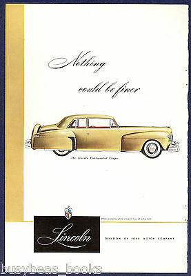 1947 Lincoln CONTINENTAL advertisement, LINCOLN Continental Coupe, color art