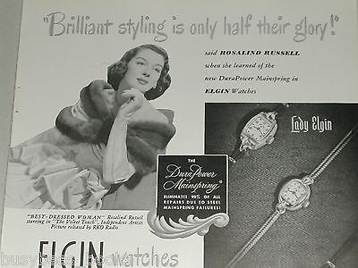 1948 Elgin Watch ad, actress Rosalind Russell