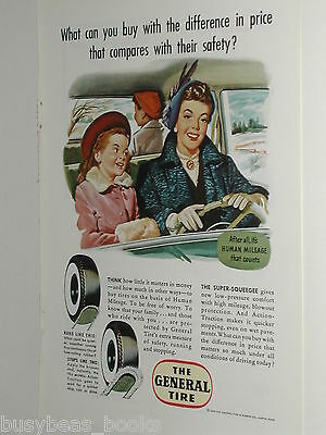 1950 General Tire ad, Mom driving kids, no seatbelts!