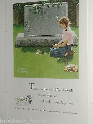 1955 Rock of Ages advertisement, Grave Stone, Norman Rockwell painting, cemetery