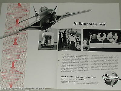 1955 Grumman Aircraft 2 page advertisement, F9F-8 Cougar, flight testing