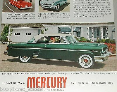 1954 Mercury ad, Ford Mercury ball joints, color photos