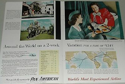 1954 Pan American 2page advert. PAN AM President Clipper airplane bed stewardess