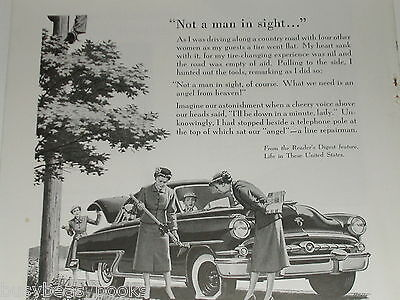 1955 Bell Telephone advertisement, Repairman fixes old lady's flat tire