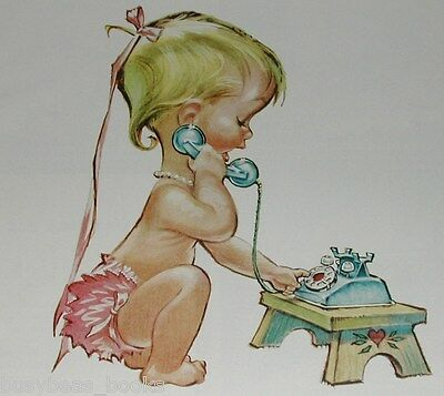 1958 BELL Telephone advertisement, young girl in diapers, cartoon Pete Hawley
