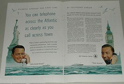 1956 BELL Telephone 2-page advertisement, New Atlantic cable NEW YORK to LONDON