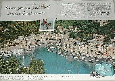 1958 Pan Am airlines ad, 2 page, South France or Italy