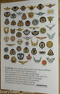 1966 Boeing Aircraft advertisement, 55 Airline's Pilots Badges
