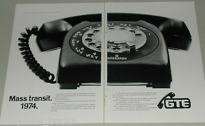 1974 General Telephone 2-page ad, huge dial phone