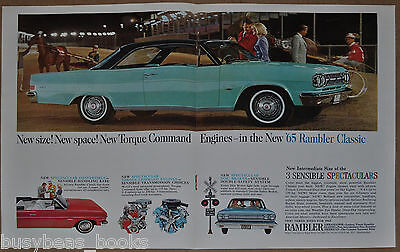 1965 RAMBLER CLASSIC 2-page advertisement, Turquoise two-door hardtop
