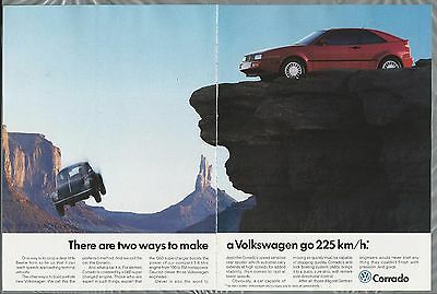 1982 VOLKSWAGEN CORRADO 2-page advertisement, with falling VW beetle