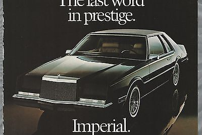1983 CHRYSLER IMPERIAL advertisement, Canadian advert, Chrysler coupe