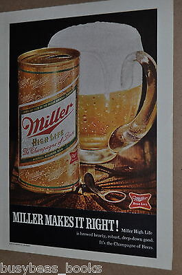 1970 Miller High Life Beer advertisement, showing MILLER pull-tab beer can