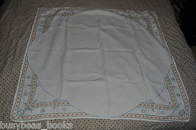 "TABLECLOTH, handmade, 38"" x 41"" floral design embroidery"