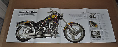 HARLEY DAVIDSON 4-page fold-out photo, 1993 Twin Dell'Orto & 1995 Lowrider Evo