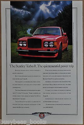 1988 BENTLEY TURBO R advertisement, Bentley Turbo, Rolls-Royce