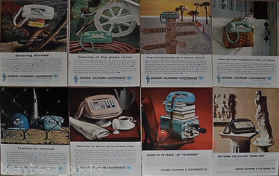 1962-63 GENERAL TELEPHONE advertisements x8, GT&E, rotary dial phone, Starlite