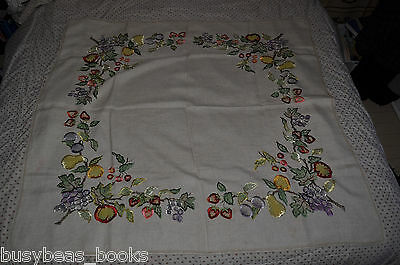 "TABLECLOTH, handmade, 44"" x 44"" fruit design embroidery"