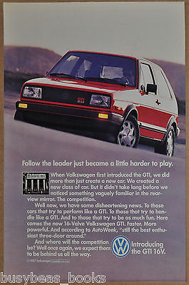 1987 VOLKSWAGEN GTI advertisement, VW GTI, red sports car