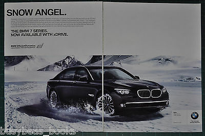 2010 BMW 2-page advertisement, BMW 750i driving in the snow