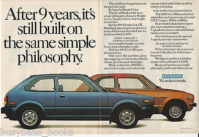 1981 HONDA CIVIC 2-page advertisement, 1981 Civic DX with 1973 Civic