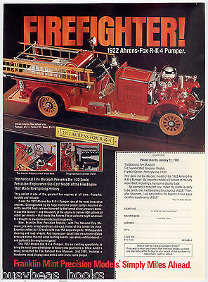 1991 Franklin Mint advertisement page for 1922 AHRENS-FOX FIRE TRUCK model