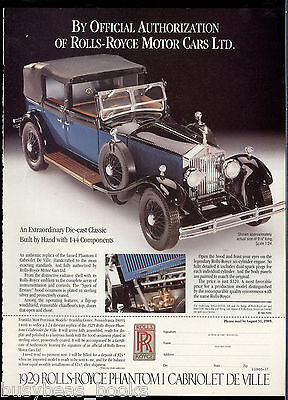 1989 Franklin Mint advertisement for 1929 ROLLS ROYCE PHANTOM I model