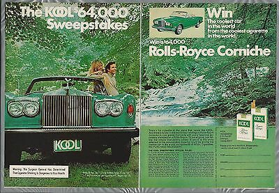 1975 KOOL Cigarettes 2 page advertisement, ROLLS ROYCE Corniche sweepstake