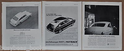 1965-67 VOLKSWAGEN 1600 advertisements x3, from British magazines, VW fastback