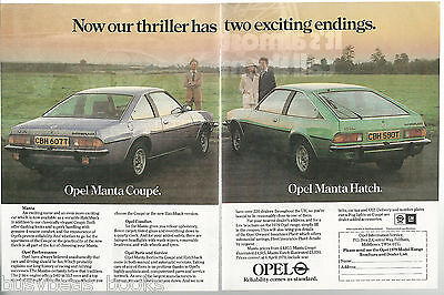 1979 OPEL MANTA 2-page advertisement, GM Opel Manta Coupe & Hatch British advert