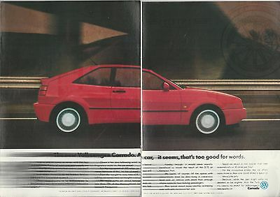 1990 VOLKSWAGEN CORRADO 2-page advertisement, British advert, VW Corrado blurred